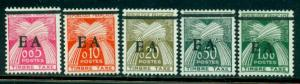 Algeria #J49a-J53a  Mint  VF VLH  Scott $213.00