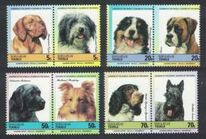Tuvalu Nuku Spaniel Terrier Labrador Sheepdog Boxer Collie Dogs 8v 1985 MNH