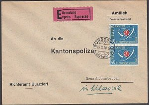 SWITZERLAND 1958 Express cover - Atomic Conference franking..................306