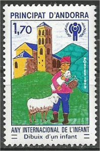 ANDORRA, FRENCH, 1979 MNH 1.70fr, Year of the Child, Scott 272