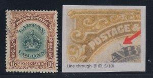 Labuan, SG 124b, used Line Through B variety