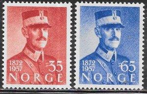 Norway 358-359 MNH - King Haakon VII- Birthday