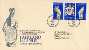 Falkland Islands 1978 Sc#275a-c 25th.Annv.Coronation Q.E.II Strip FDC