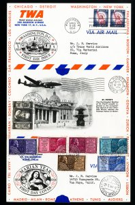 US To Vatican Rare 1954 Flight Stamp Cover
