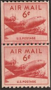 US Stamp 1949 6c DC-4 Skymaster - Coil Joint Line Pair - Scott #C41