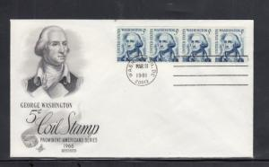 First Day Cover Scott # 1304C Revised Coil Stamp 1981 Strip of 4