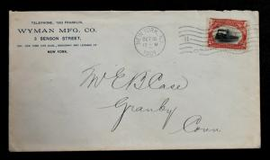 U.S. EFO Stamp Sc #295  Fast Train on Commercial Cover dated Oct 12, 1901