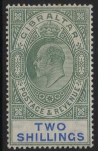 GIBRALTAR SG52 1903 2/= GREEN & BLUE MTD MINT