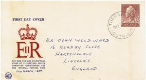 AUSTRALIA FDC 1/7p  - MARCH 13, 1957, ADDRESSED TO ENGLAND
