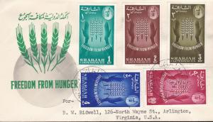 United Nations Food & Agricultural Org.1963.Sharjah Souvenir Sheet+ Stamps FDC