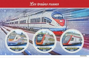Niger - 2020 Russian Trains - 3 Stamp Sheet - NIG200206a
