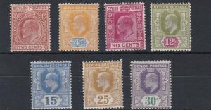 CEYLON  1904 - 05         S G  277 - 285    VARIOUS VALUES TO 30C    MH