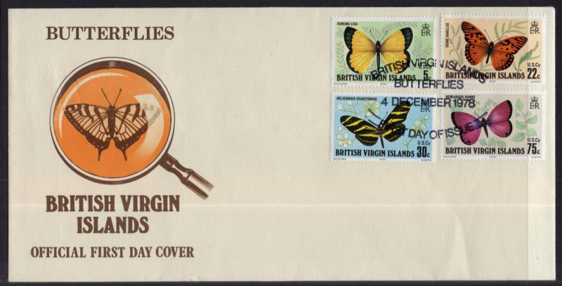 British Virgin Islands 342-345 Butterflies U/A FDC
