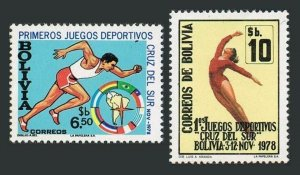 Bolivia 639-640,MNH.Michel 953-854. Southern Cross Games,1978.Runner,Gymnast.