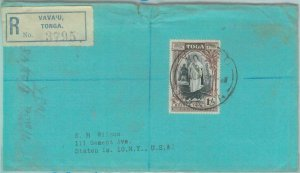 83443 -  TONGA  - POSTAL HISTORY  -  REGISTERED COVER  to USA 1948  from  VAVA'U