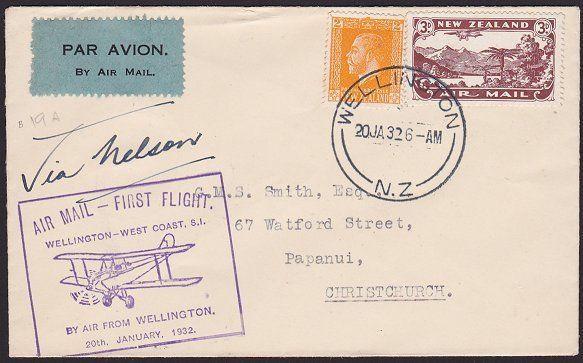NEW ZEALAND 1932 West Coast survey flight cover Wellington to Nelson........2382