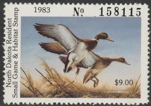 U.S.-NORTH DAKOTA 35, STATE DUCK HUNTING PERMIT STAMP. MINT, NH. VF.