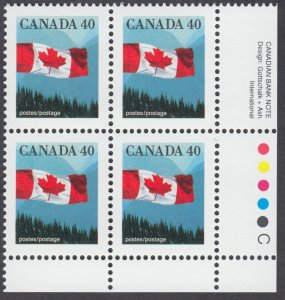 Canada - #1169 40c Flag Over Mountains Plate Block - MNH