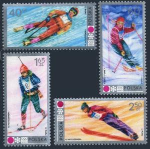 Poland 1871-1874,B124,MNH.Michel 2143-2146,Bl.49. Olympics Sapporo-1972.Luge,Ski