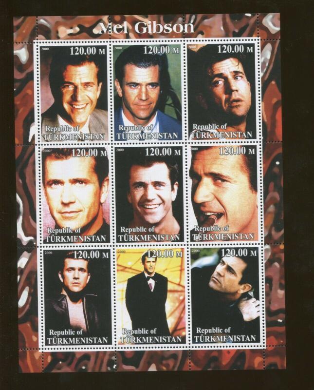 Turkmenistan Mel Gibson Commemorative Souvenir Stamp Sheet