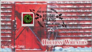 19-280, 2019, Holiday Wreaths, Pictorial Postmark, FDC, Christmas