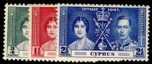 CYPRUS SG148-150, COMPLETE SET, NH MINT.