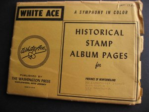 Newfoundland White Ace new pages, but some pencil cat #s written in +BC,NS,NB,PE
