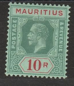 MAURITIUS 1913 KGV 10R ON BLUE GREEN BACK DIE I WMK MULTI CROWN CA