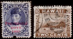 Hawaii Scott 57, 75 (1893-94) Used H G-F Y