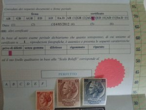 Group of Stamps with Certificate, Siracusana Ruota 1953, 80 L. orange, 100 L. br