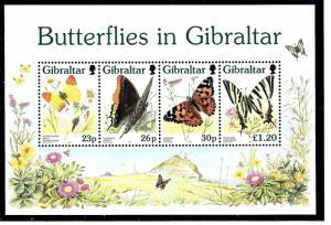 Gibraltar 731a MNH 1997 Butterflies S/S