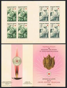 France B402-B403a booklet,MNH.Michel 1568-1569 MH. Red Cross-1966.First aid.