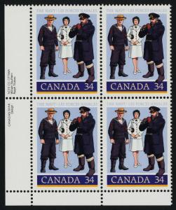 Canada 1075 BL Plate Block MNH Canadian Navy, Uniforms