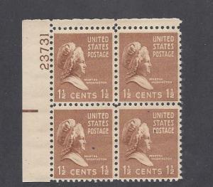 United States, 805, Martha Washington Plate Block of 4, #23731, UL, MNH