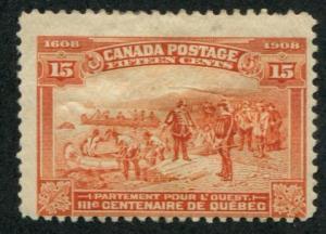 Canada SC# 102 (SG# 194)  Quebec Tercentenary 15c  MH