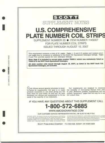 U. S. Comprehensive Plate Number Coil Strip Supplement # 20