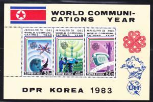 North Korea 2332 MNH 1983 World Communications Year Sheet of 3 Very Fine
