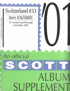 Scott Switzerland #33 Supplement 2001