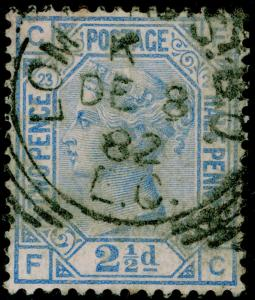 SG157, 2½d blue PLATE 23, USED, CDS. Cat £32. FC
