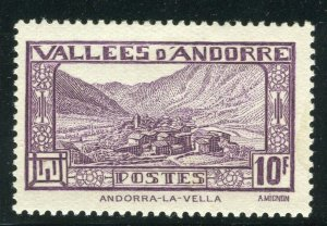 FRENCH ANDORRA; 1932 early Pictorial issue fine Mint hinged 10Fr. value