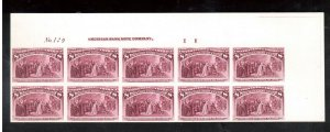 USA #236P4 Extra Fine Plate Proof Plate Block Of Ten