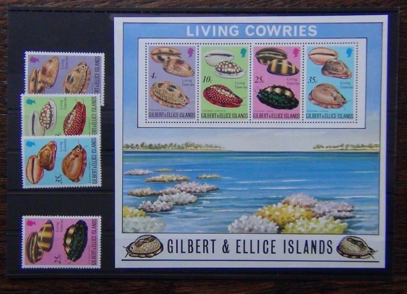 Gilbert & Ellice 1975 Cowie Shells Set & Miniature Sheet MNH