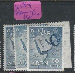 ADEN  (PP0807B)  QEII  50C  SG 58-9, 59A   MOG
