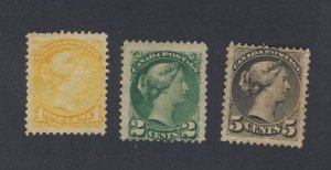 3x Canada Small Queen Mint Stamps #35-1c #36-2c #43-5c Guide Value = $160.00