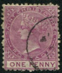 St Christopher SC#1 (SG#1) Queen Victoria 1d, wmk 1, Used