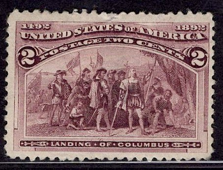 US Stamp #231 2c Columbian MINT Hinged SCV $12.50