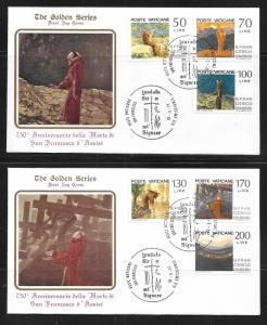 Vatican City 607-12 750th St. Francis of Assisi Golden Series FDC