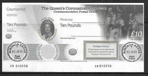 2003 The Queen's Coronation Commemorative £10 Postal Order