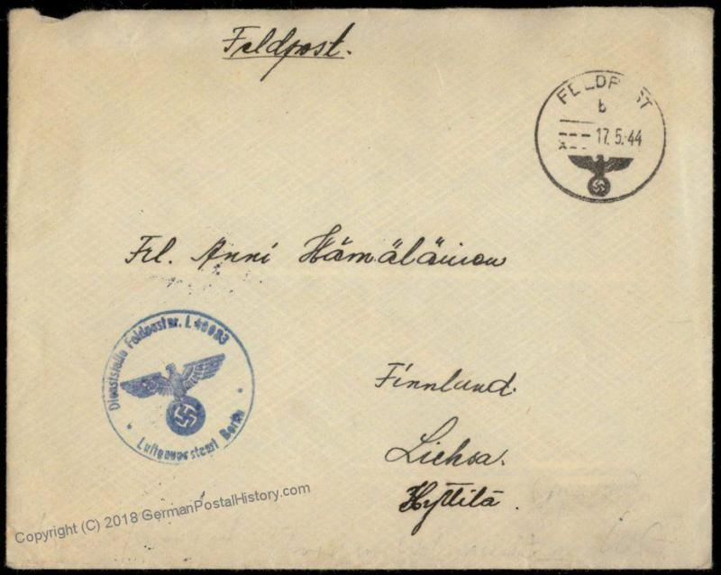 3rd Reich Finnish Volunteer Luftwaffe in Finland Feldpost Cover and Conten 70275