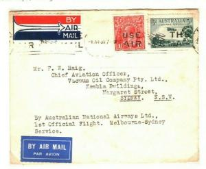AUSTRALIA Air Mail First Flight Cover Melbourne Sydney 1930 {samwells} PA29